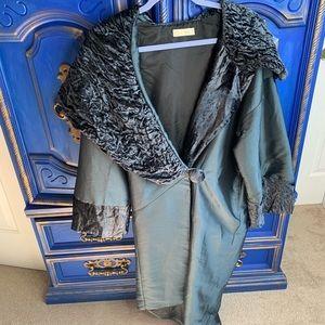 Nataya Lined Blue Velvet Top/Jacket Steampunk Med